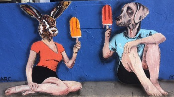 2015 - Rabbitgirl and Dogman eating Ice Lollies - Gillie and Marc