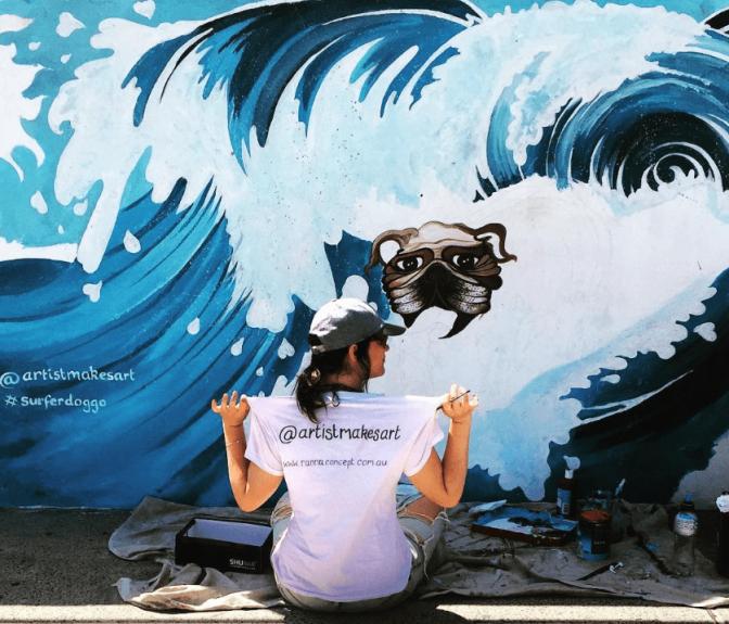 2016 - RANNA - Surfer Doggo - Artist Painting