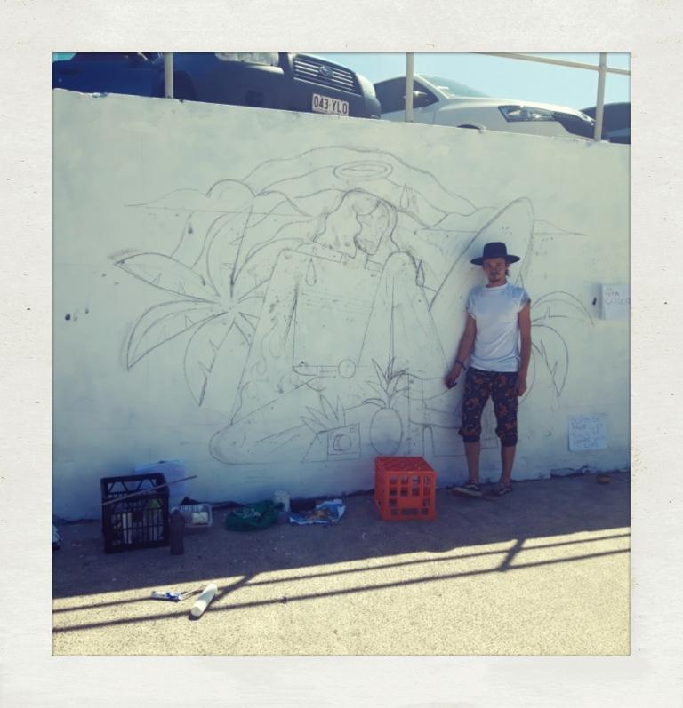 2019 – Vintage Surfer Disco Tropical Saint - Quentin Celeste - artist with sketch
